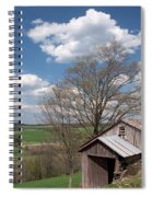 Hillside Weathered Barn Dramatic Spring Sky Spiral Notebook