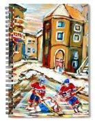 Hockey Art Hockey Game Plateau Montreal Street Scene Spiral Notebook