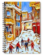 Hockey Art Montreal City Streets Boys Playing Hockey Spiral Notebook