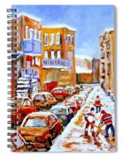 Hockey Art Streets Of Montreal Hockey Paintings Spiral Notebook