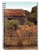 Hollyhocks And Thatched Roof Barn Spiral Notebook