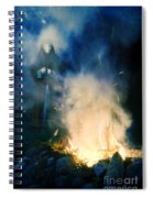 Hooded Figure In A Mask By A Fire Spiral Notebook