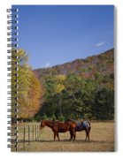 Horses And Autumn Landscape Spiral Notebook