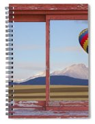 Hot Air Balloon And Longs Peak Red Rustic Picture Window View Spiral Notebook