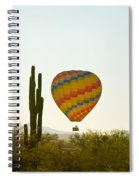 Hot Air Balloon In The Arizona Desert With Giant Saguaro Cactus Spiral Notebook