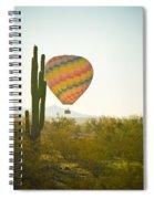Hot Air Balloon Over The Arizona Desert With Giant Saguaro Cactu Spiral Notebook