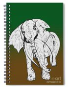 Inked Elephant In Green And Brown Spiral Notebook