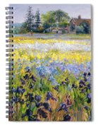 Irises And Two Fir Trees Spiral Notebook