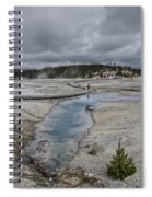 Japanese Woman With Umbrella At Norris Geyser Basin Spiral Notebook
