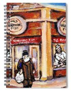 Jewish Montreal Vintage City Scenes Fish Market On Roy Street Spiral Notebook