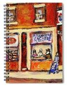 Jewish Montreal Vintage City Scenes Hutchison Street Butcher Shop  Spiral Notebook
