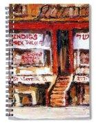Jewish Montreal Vintage City Scenes Indigs Kosher Butcher Spiral Notebook