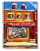 Jewish Montreal Vintage City Scenes Moishes St. Lawrence Street Spiral Notebook