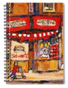 Jewish Montreal Vintage City Scenes Schwartzs Original Hebrew Deli Spiral Notebook