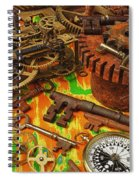 Keys Gears And Compass Spiral Notebook