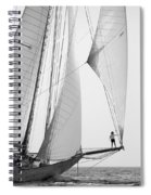king of the world - a classic sailboat with all sails plying the sea on the island of Menorca Spiral Notebook