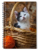 Kitten In Basket With Orange Yarn Spiral Notebook