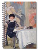 Lady At A Cafe Table  Spiral Notebook