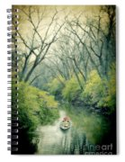Lady In A Row Boat On A River Spiral Notebook
