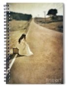 Lady In Gown Sitting By Road On Suitcase Spiral Notebook