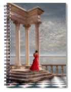 Lady In Red Gown By The Sea Spiral Notebook