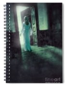 Lady In White Gown Walking Through A Mysterious Doorway Spiral Notebook