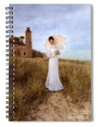 Lady In White With Parasol By The Sea Spiral Notebook