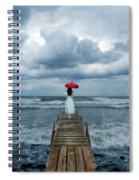 Lady On Dock In Storm Spiral Notebook