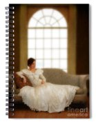 Lady Sitting On Sofa By Window Spiral Notebook