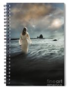 Lady Wading Into The Sea In The Early Morning Spiral Notebook