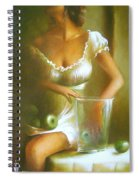 Lady With Green Apples Spiral Notebook