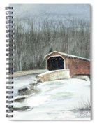 Lancaster County Covered Bridge In The Snow  Spiral Notebook