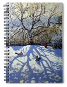 Large Tree And Tobogganers Spiral Notebook