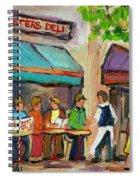 Lester's Deli Montreal Cafe Summer Scene Spiral Notebook