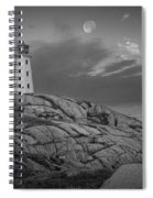 Lighthouse In The Moonlight At Peggy's Cove Nova Scotia Canada Spiral Notebook