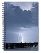 Lightning At The Pier Spiral Notebook