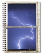 Lightning Strike White Barn Picture Window Frame Photo Art  Spiral Notebook