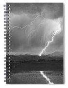 Lightning Striking Longs Peak Foothills 2bw Spiral Notebook