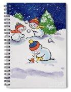 Little Snowmen Snowballing Spiral Notebook