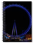 London Eye All Done Up In Blue Light In The Night With A Small Reflection In The Thames Spiral Notebook