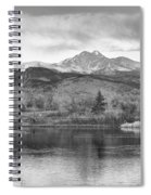 Longs Peak And Mt Meeker Sunrise At Golden Ponds Bw  Spiral Notebook