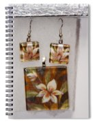 Lotus Flower Pendant And Earring Set Spiral Notebook