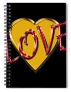 Love Gold And Red Spiral Notebook