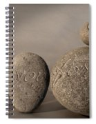 love you forever - An engraved message gives light to a stone heart Spiral Notebook