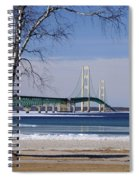 Mackinac Bridge With Trees Spiral Notebook