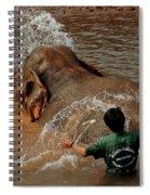 Bathing An Elephant Laos Spiral Notebook