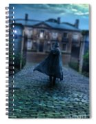 Man In Top Hat And Cape On Cobblestone Street Spiral Notebook