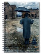 Man In Vintage Clothing With Umbrella On Rainy Brick Street Spiral Notebook