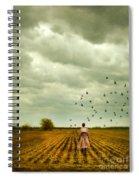 Man Walking In A Farm Field Spiral Notebook