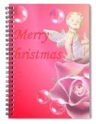 Merry Christmas Cherub And Rose Spiral Notebook